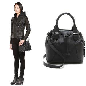 MACKAGE Loryn Black Leather Bucket Bag Crossbody